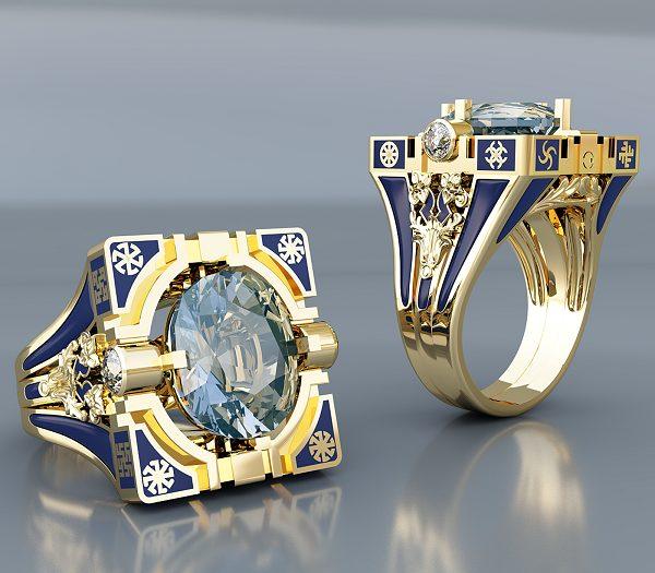 Золотой перстень с эмалью